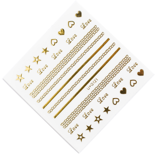 Love heart gold nail stickers