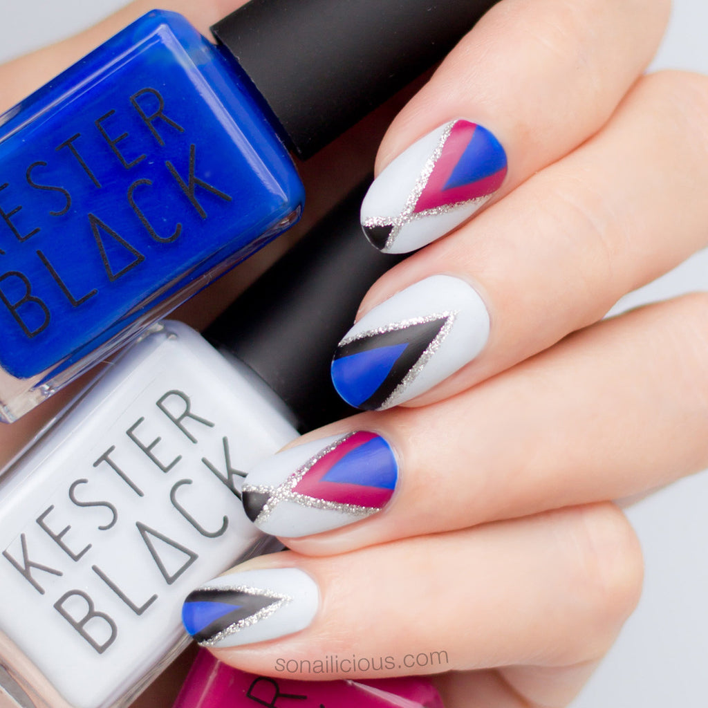 Matte nails with Kester Black Monarch and Sky