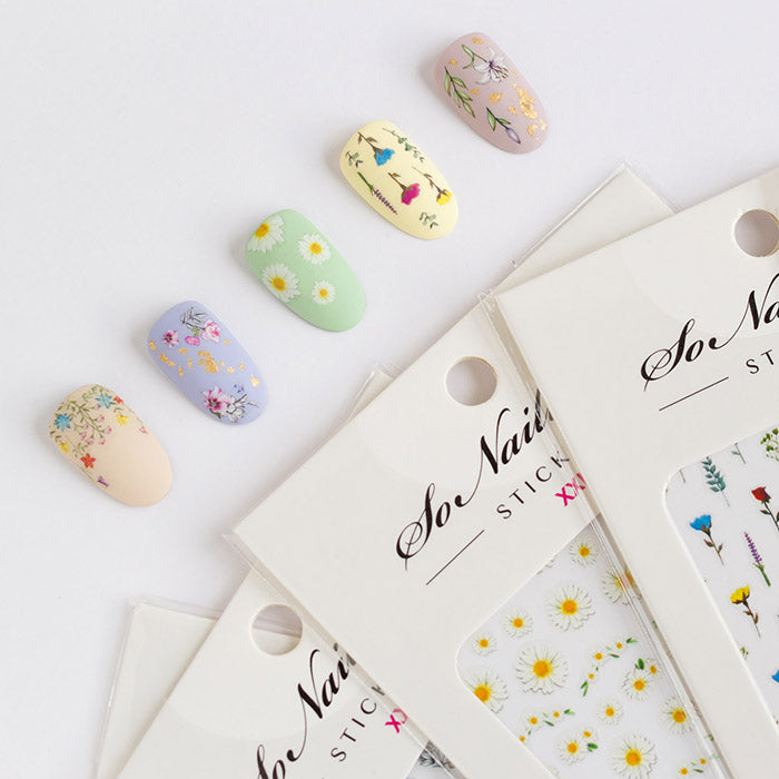 nail art ideas with SoNailicious floral stickers