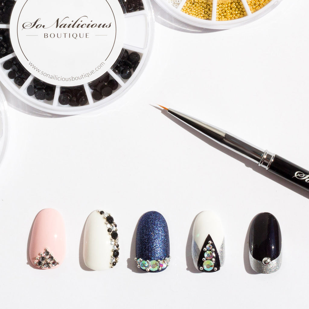 nail designs with caviar beads