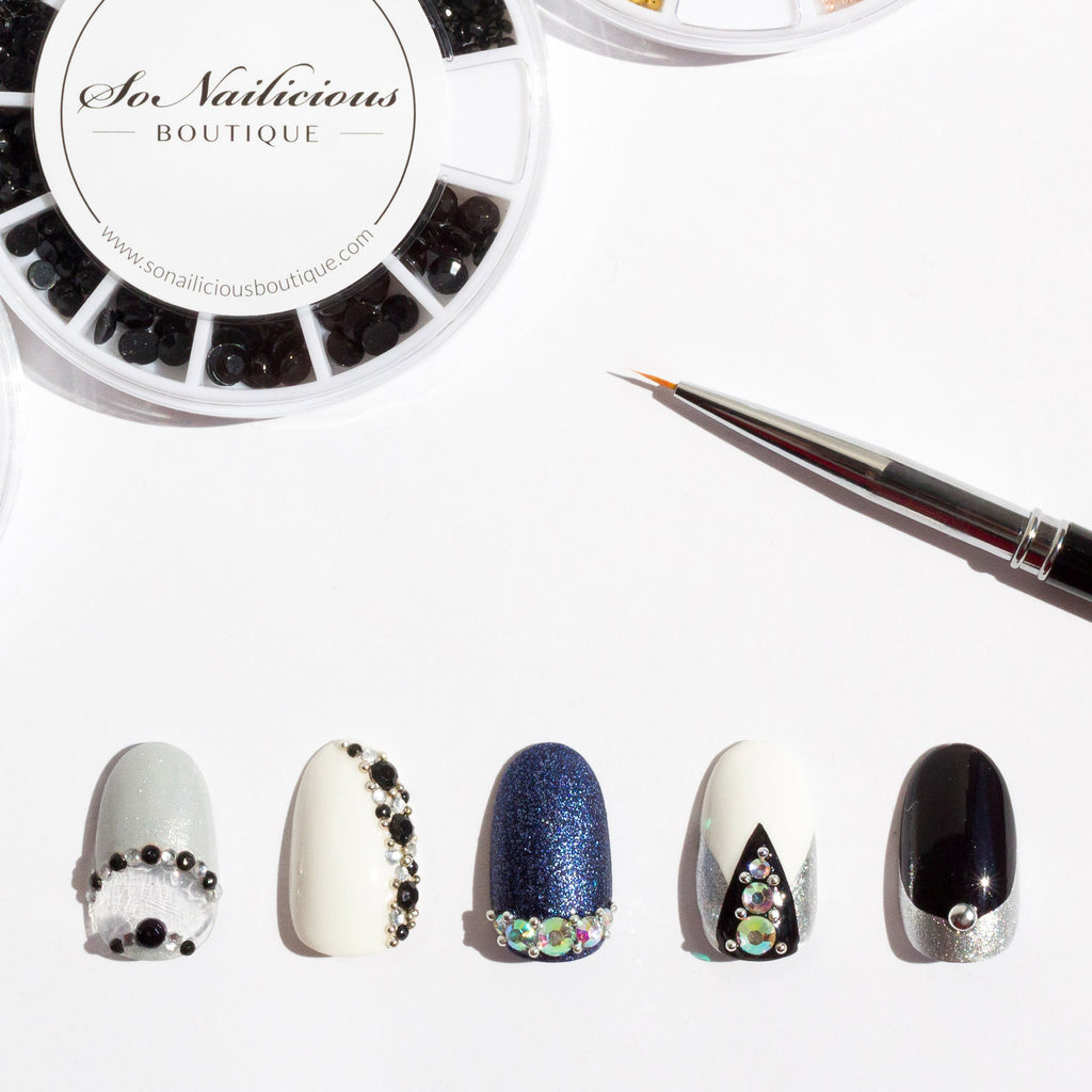 nail designs with black rhinestones