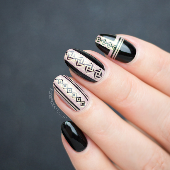 White and black geometric nail art stickers