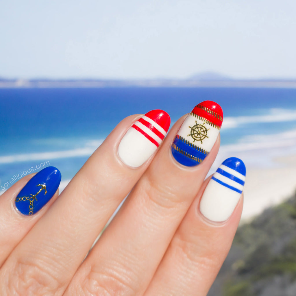 Nautical nail art with Beach Vacation nail stickers