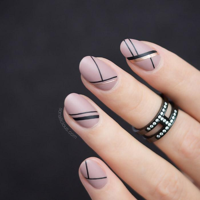 nude and black nails with Stripe stickers
