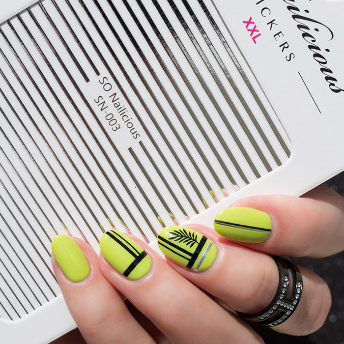 palm leaf striped nails with sonailicious stickers