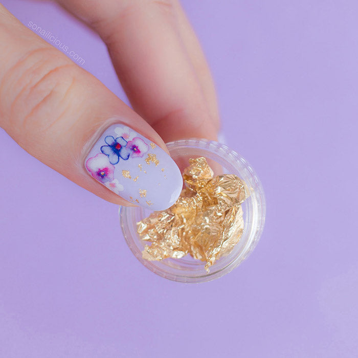 pansy nails with gold foil