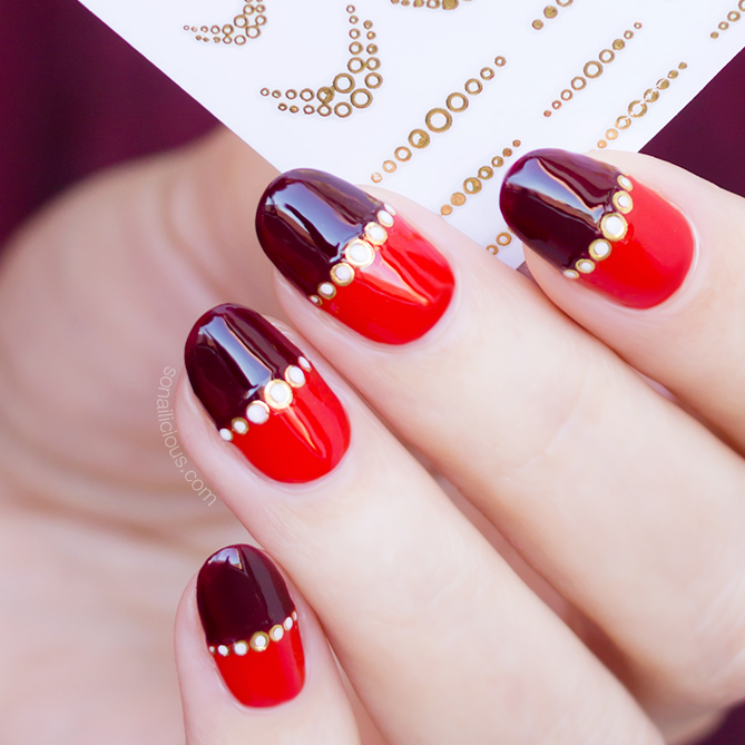 Red & gold nails with Droplets nail stickers