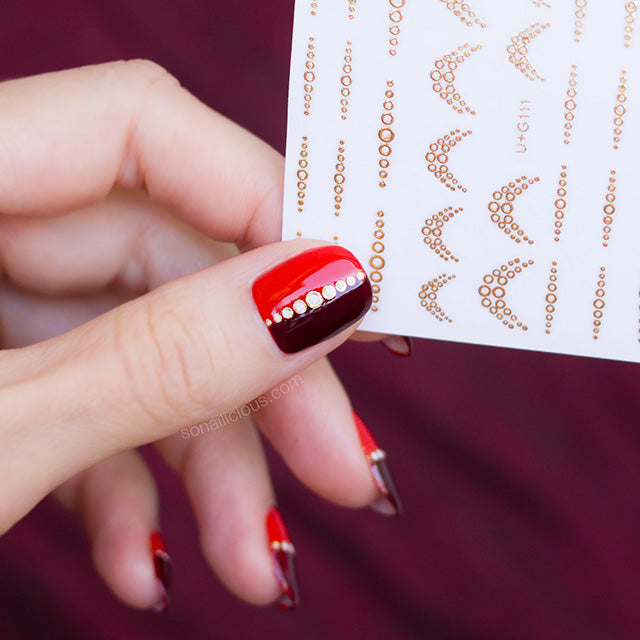 red and gold nails with SoNailicious nail stickers