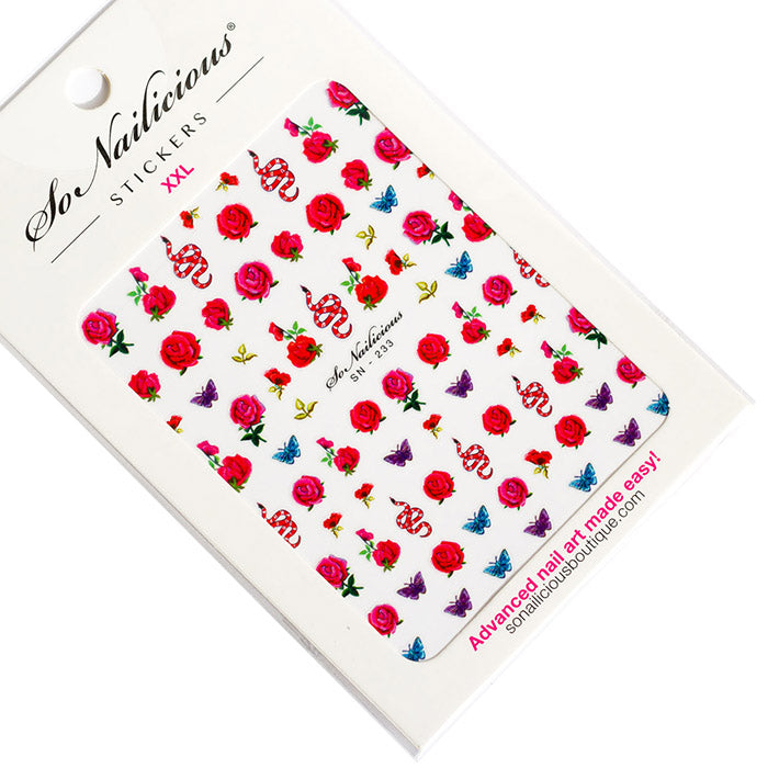 Garden of Eden red roses and snakes nail stickers