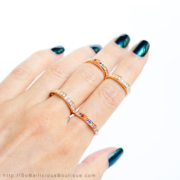 Simple Gold Midi Ring With Diamantes - 20% OFF!
