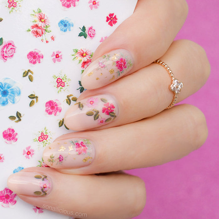 roses nail art with SoNailicious stickers