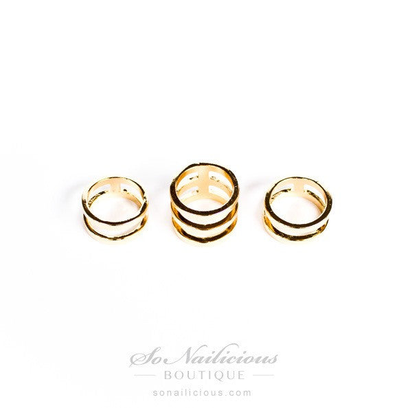Gold Knuckle Rings Set of 3 SoNailicious Boutique