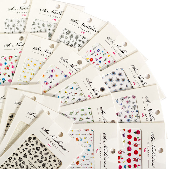 Monochrome Ink Floral Nail Stickers - 061 XXL Series - ONLY 3 LEFT!