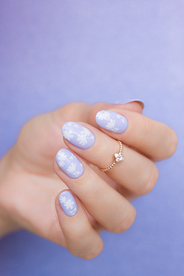 Purple and White Floral nail art