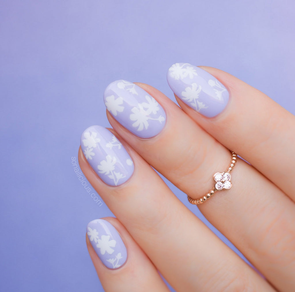 Purple nails with White Floral nail stickers