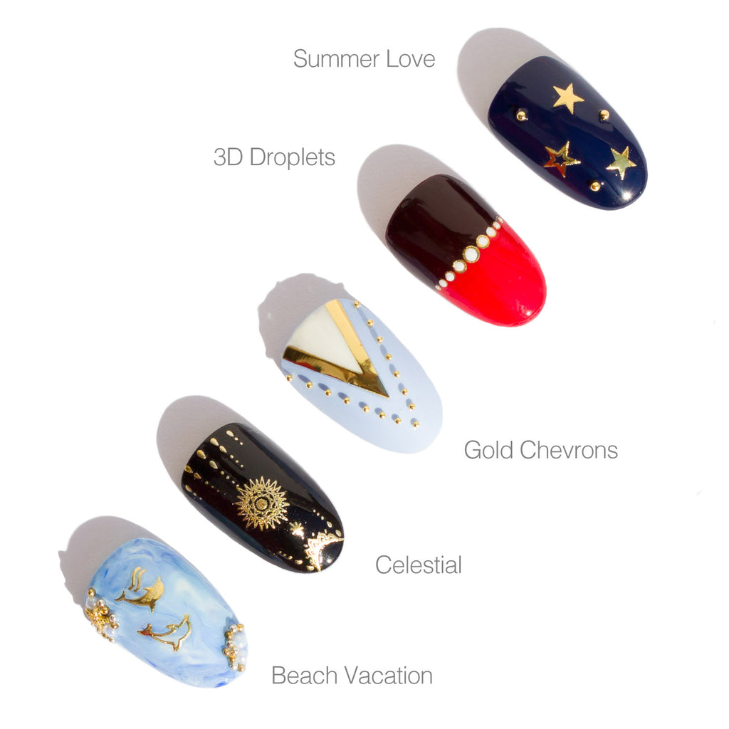 summer nail art with gold nail stickers