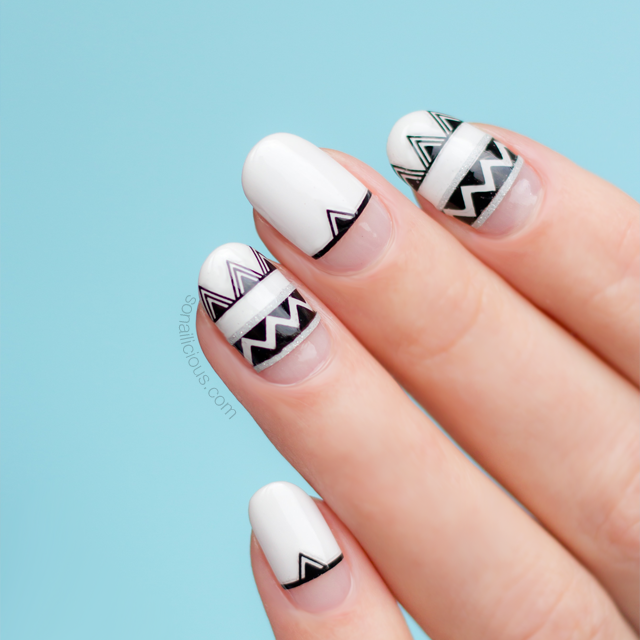 Summer nail design with Aztec stickers