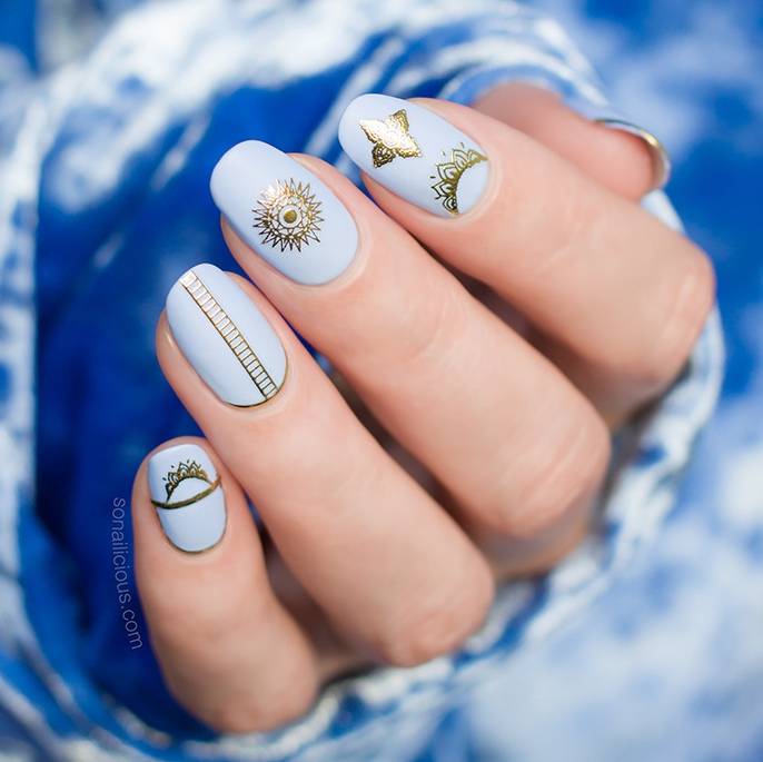 blue and gold nails with Dance Legend Periwinkle