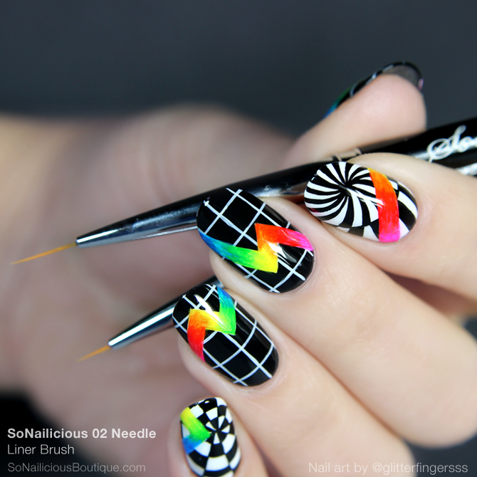 Rainbow nail art with SoNailicious nail art brushes