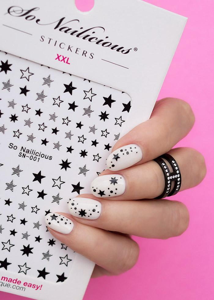 black and white star nails with SoNailicious Star stickers