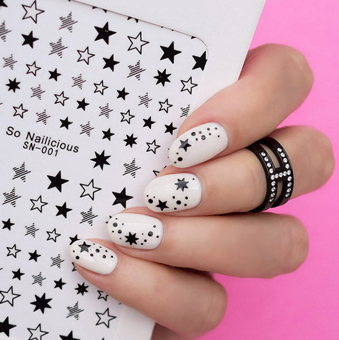 white and black star nails
