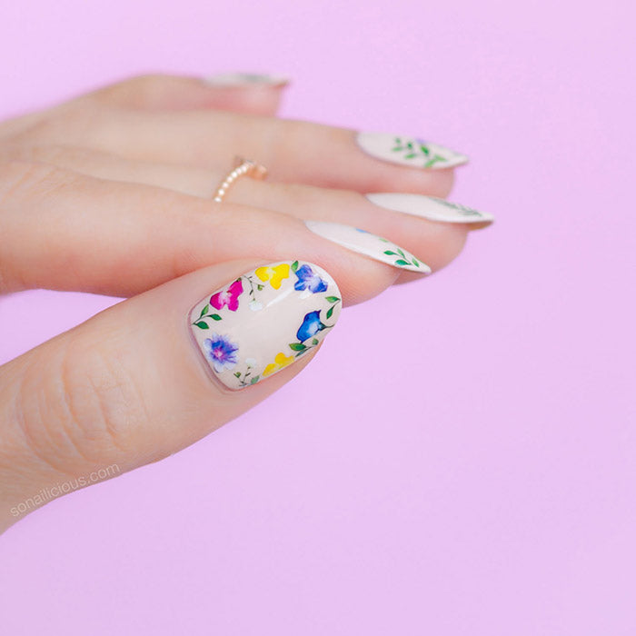 wildflower nails with sonailicious stickers