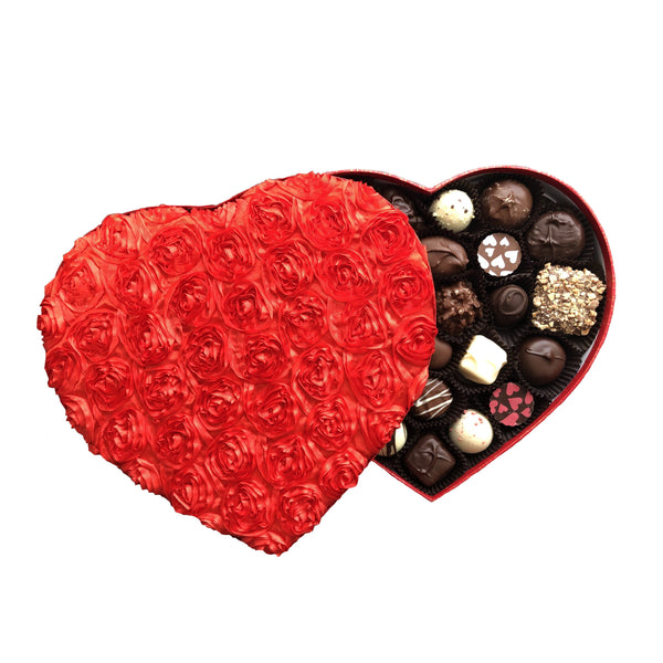 Heart Box Chocolate Assortment (1 lb) - Jackie's Chocolate