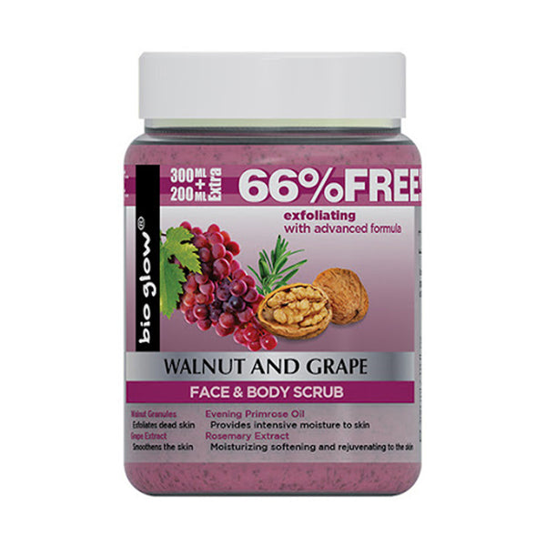 Bio Glow walnut and grape Face & Body Scrub 500ml