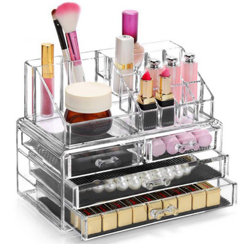 Cosmetics storage with drawers