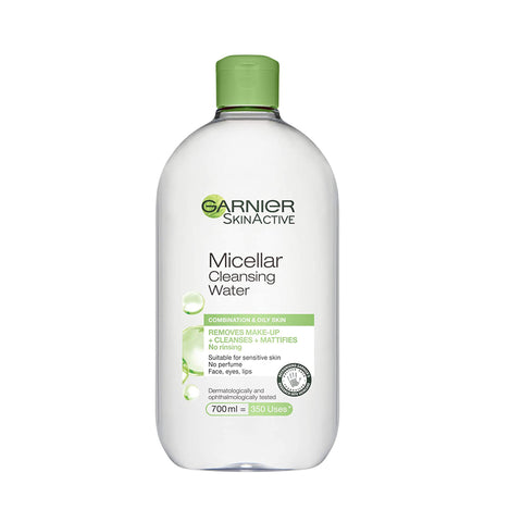 Garnier Micellar Cleansing Water Combination, Oily and Sensitive Skin, Mattifying Face and Eye Make-Up Remover and Cleanser 700 ml