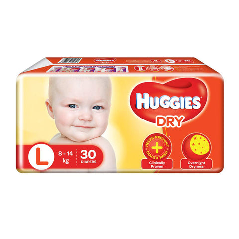 Huggies Diaper New Dry , Large Size Pack of 2 , 30 Counts Per Pack
