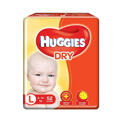 Huggies Diaper New Dry , Large Size Pack of 2 , 52 Counts Per Pack