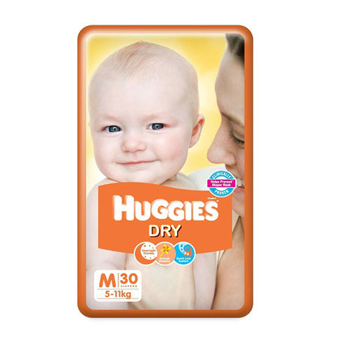 Huggies Diaper New Dry , Medium Size Pack of 2 , 30 Counts Per Pack