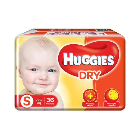 Huggies Diaper New Dry , Small Size Pack of 2 , 36 Counts Per Pack