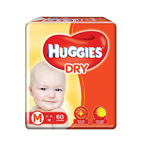Huggies Diaper New Dry , Medium Size Pack of 2 , 60 Counts Per Pack