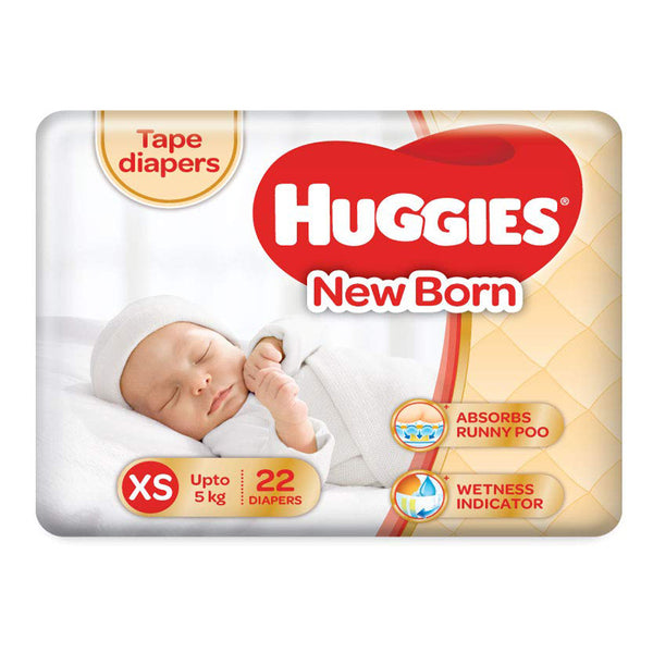 Huggies Ultra Soft New Born XS Diaper Pack Of 2 , 22 Counts Per Pack