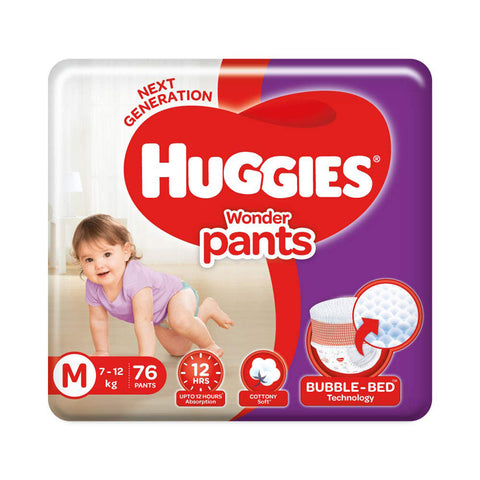 Huggies Wonder Pants, Medium Size Diapers pack of 2 , 76 Counts Per Pack