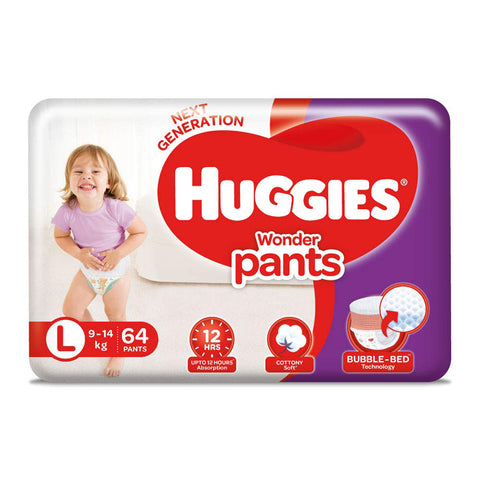 Huggies Wonder Pants, Large Size Diapers pack of 2, 64 Count Per Pack