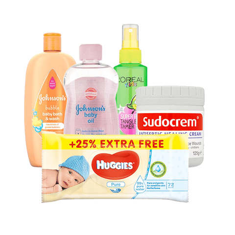 Johnson's Bubble Bath & Wash, Oil, Huggies Wipes, L'Oreal Kids Shampoo & Sudocrem Gift Set in Sri Lanka