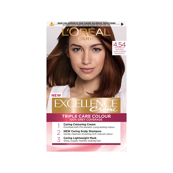 L'Oreal Excellence Permanent Hair Colour 4.54 Natural Dark Copper Mahogany in Sri Lanka