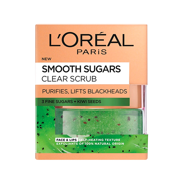 L'Oreal Paris Smooth Sugar Clear Kiwi Face & Lip Scrub 50ml in Sri Lanka
