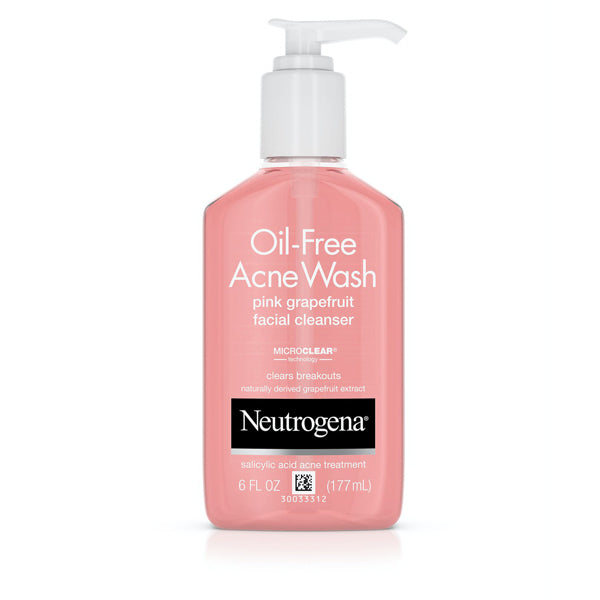 Neutrogena Oil Free Pink Grapefruit Acne Face Wash & Cleanser with Vitamin C & Salicylic Acid  177ml
