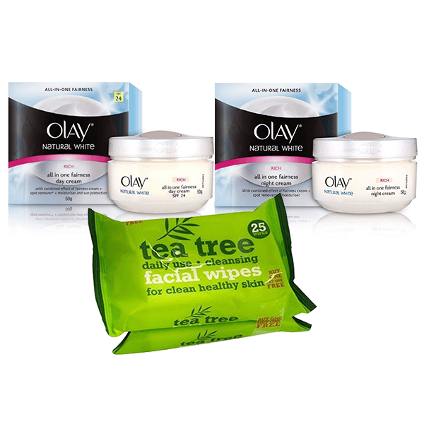 Olay Natural White Day Cream, Night Cream & Tea Tree Facial Wipes Gift Set in Sri Lanka