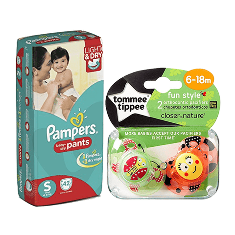 Pampers Small Size Diaper Pants (42 Pants) & Tommee Tippee 2 Soothers Gift Set in Sri Lanka