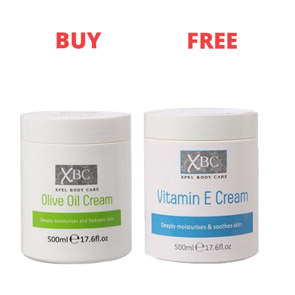 XBC Vitamin E Cream & XBC Olive Oil Body Cream 500ml (Limited Offer)