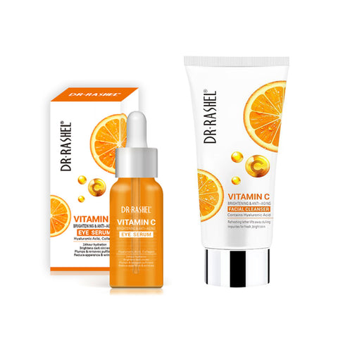 Dr. Rashel Vitamin C Brightening And Anti-Aging Facial Cleanser 80g and Dr. Rashel Vitamin C Brightening And Anti-Aging Eye Serum 30ml (Limited Offer)