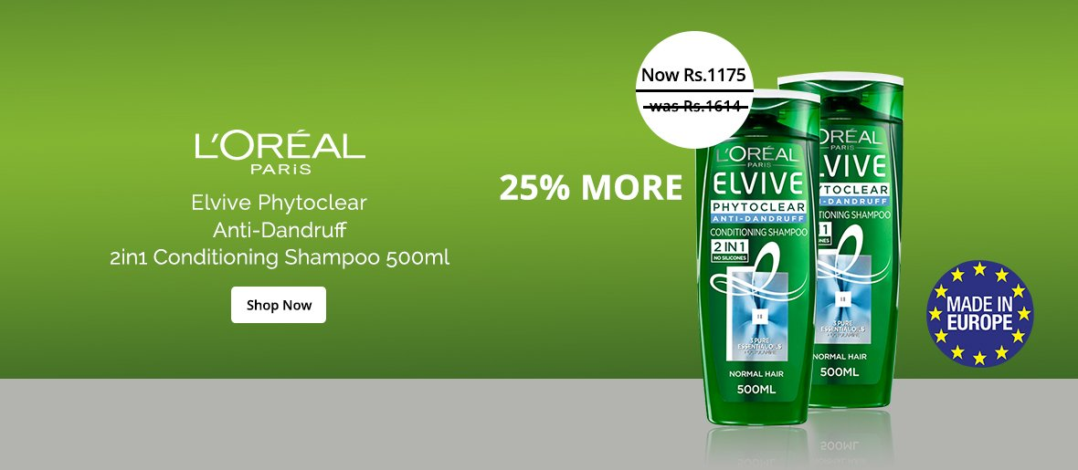 L'Oreal Paris Elvive Phytoclear Anti-Dandruff 2in1 Conditioning Shampoo 500ml in Sri Lanka