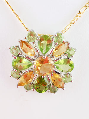 Multi- Flower Citrine & Lime Quartz Necklace 10Kt Gold