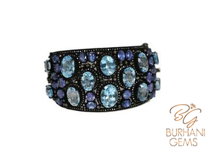 AQUA BLUE TOPAZ VICTORIAN BANGLE BRACELET