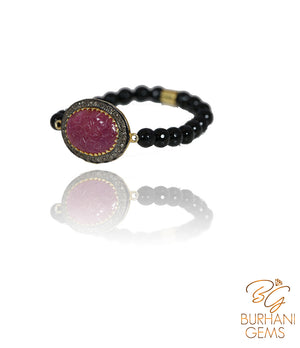 CABOCHON RUBY  ROSECUT DIAMOND BANGLE BRACELET